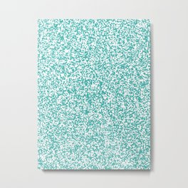 Tiny Spots - White and Verdigris Metal Print