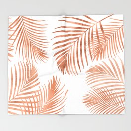 Rose Gold Palm Leaves Throw Blanket