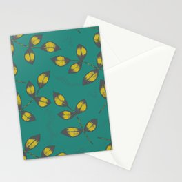 Mustard Yellow Leaves Stationery Cards