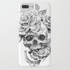 Black and White skull with roses pen drawing iPhone 7 Plus Slim Case