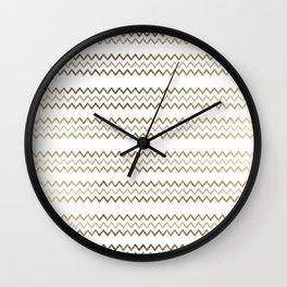 Elegant faux gold white chevron zigzag geometrical pattern Wall Clock