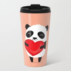 Panda love. Cute cartoon illustration Metal Travel Mug