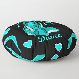 Love to Dance Teal Ballet Shoes Floor Pillow