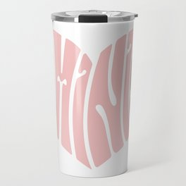 Feminist '70s Typography Heart Travel Mug