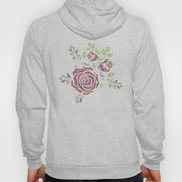 Purple embroidered rose Hoody