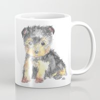 yorkie Mugs featuring Yorkie Pup by The Painted Lace