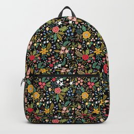 Amazing floral pattern with bright colorful flowers, plants, branches and berries on a black backgro Backpack