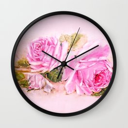 Vintage Romance Shabby Chic  Pink Roses Wall Clock