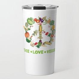 Vegetarian vegan vegetable Peace funny gift Travel Mug
