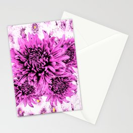 Pink Chrysanthemum Flowers Art Garden  Pattern Stationery Cards