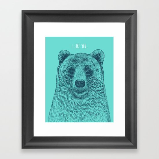I Like You (Bear) Framed Art Print