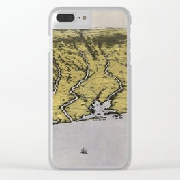 Vintage Pictorial Map of The Texas Coast (1861) Clear iPhone Case