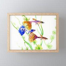 Guppy Fish colorful fish artwork, blue orange Framed Mini Art Print