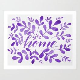 Watercolor home foliage - purple Art Print