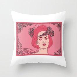 Pink Flower Girl Digital Drawing Throw Pillow