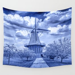 Delft Blue Dutch Windmill Wall Tapestry
