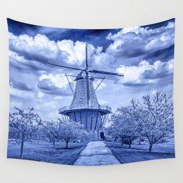 Delft Blue Dutch Windmill Wall Tapestry