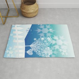 Valentine Winter Heart Crystal Snowflakes Rug