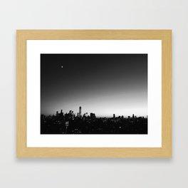 skyline in black and white Framed Art Print