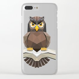 Vector, Brown Owl fly with the book Clear iPhone Case