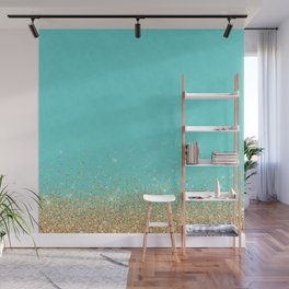 Sparkling gold glitter confetti on aqua teal damask background Wall Mural