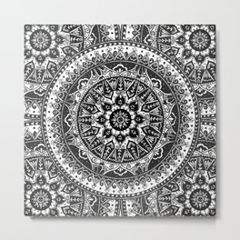 Black and White Mandala Pattern Metal Print