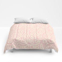 Abstract pastel pink ivory geometrical swirls pattern Comforters