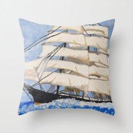 Vintage Ship #vintage #art Throw Pillow
