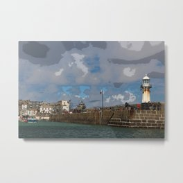 Lighthouse at St Ives, Cornwall, England Metal Print