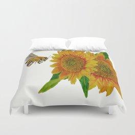 Summer Bee Yellow Sunflower Painting Duvet Cover