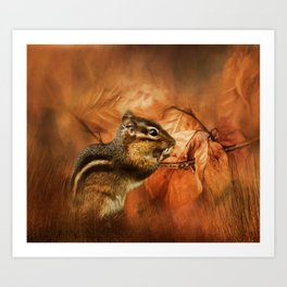 Chipmunk Autumn Art Print