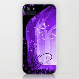 Dark Forest at Dawn in Amethyst iPhone Case