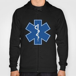 EMT Health Care Rod of Asclepius Blue Star of Life Medical Symbol Hoody