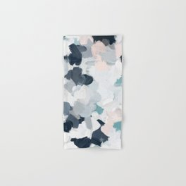 Navy Indigo Blue Blush Pink Gray Mint Abstract Air Clouds Art Sky Painting Hand & Bath Towel