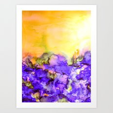 INTO ETERNITY, YELLOW AND LAVENDER PURPLE Colorful Watercolor Painting Abstract Art Floral Landscape Art Print