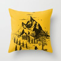 home sweet home Throw Pillows featuring Home! Sweet Home! by nicebleed
