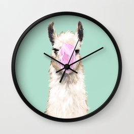 Bubble Gum Popped on Llama (3 in series of 3)  Wall Clock