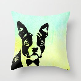 Boston Terrier in a Bow Tie Throw Pillow