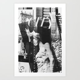 NYC Editorial Collage Black & White Art Print