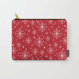 Snowflakes winter christmas minimal holiday red and white decor gifts Carry-All Pouch