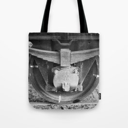 Black and white photography Old train wheel Tote Bag