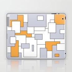 Squares - gray, orange and white. Laptop & iPad Skin