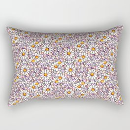 Blush Daisies and Berries Tiled Pattern Rectangular Pillow
