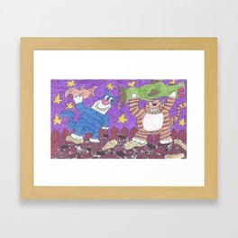 Cat Fight With Dead Fish Framed Art Print