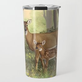 Whitetail Doe and Cute Twin Fawns Travel Mug