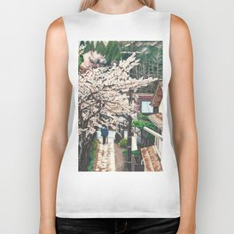 Passing by Cherry Blossoms Biker Tank