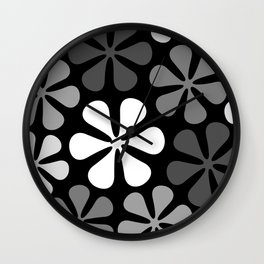 Abstract Flowers Monochrome Wall Clock