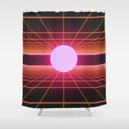Retro 80s Grid 'Into the Void' Shower Curtain