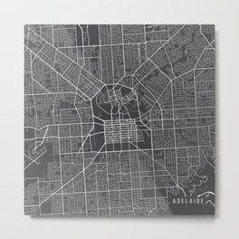 Adelaide Map, Australia - Gray Metal Print