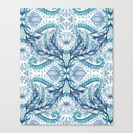Lily, Leaf & Triangle Pattern – blues Canvas Print